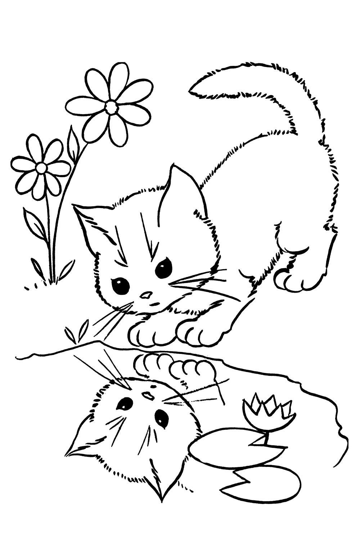 Раскраски с кошками и котятами онлайн