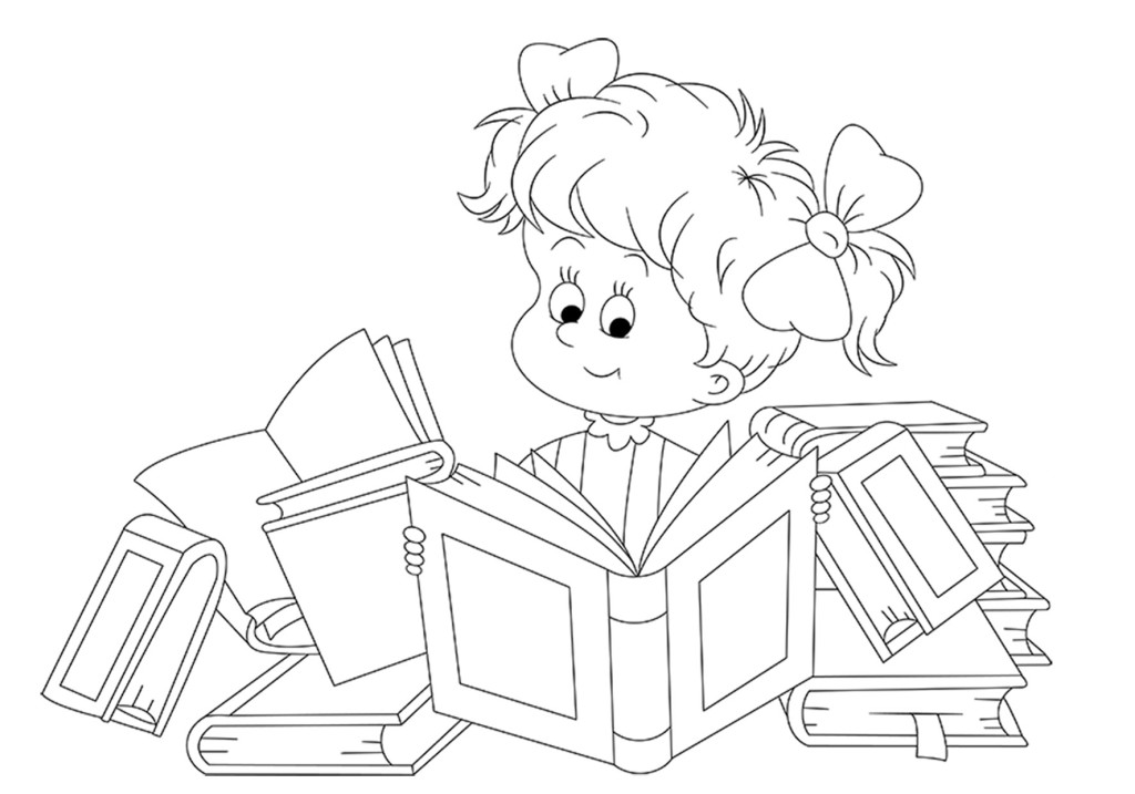 Дети читают картинки раскраски