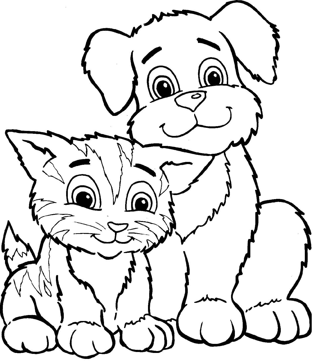 Кошки с собачками раскраска