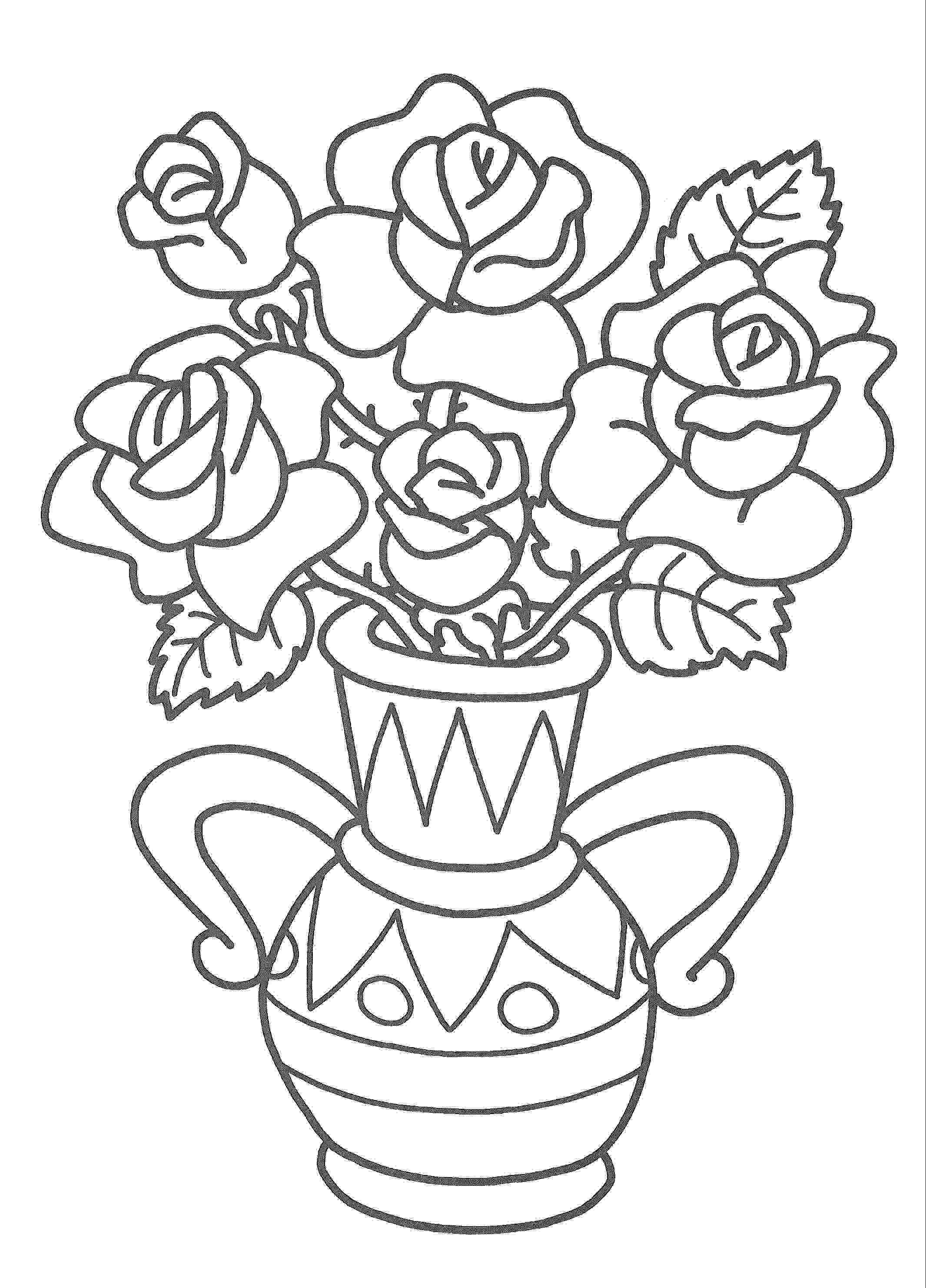 Раскраска вазы с цветами