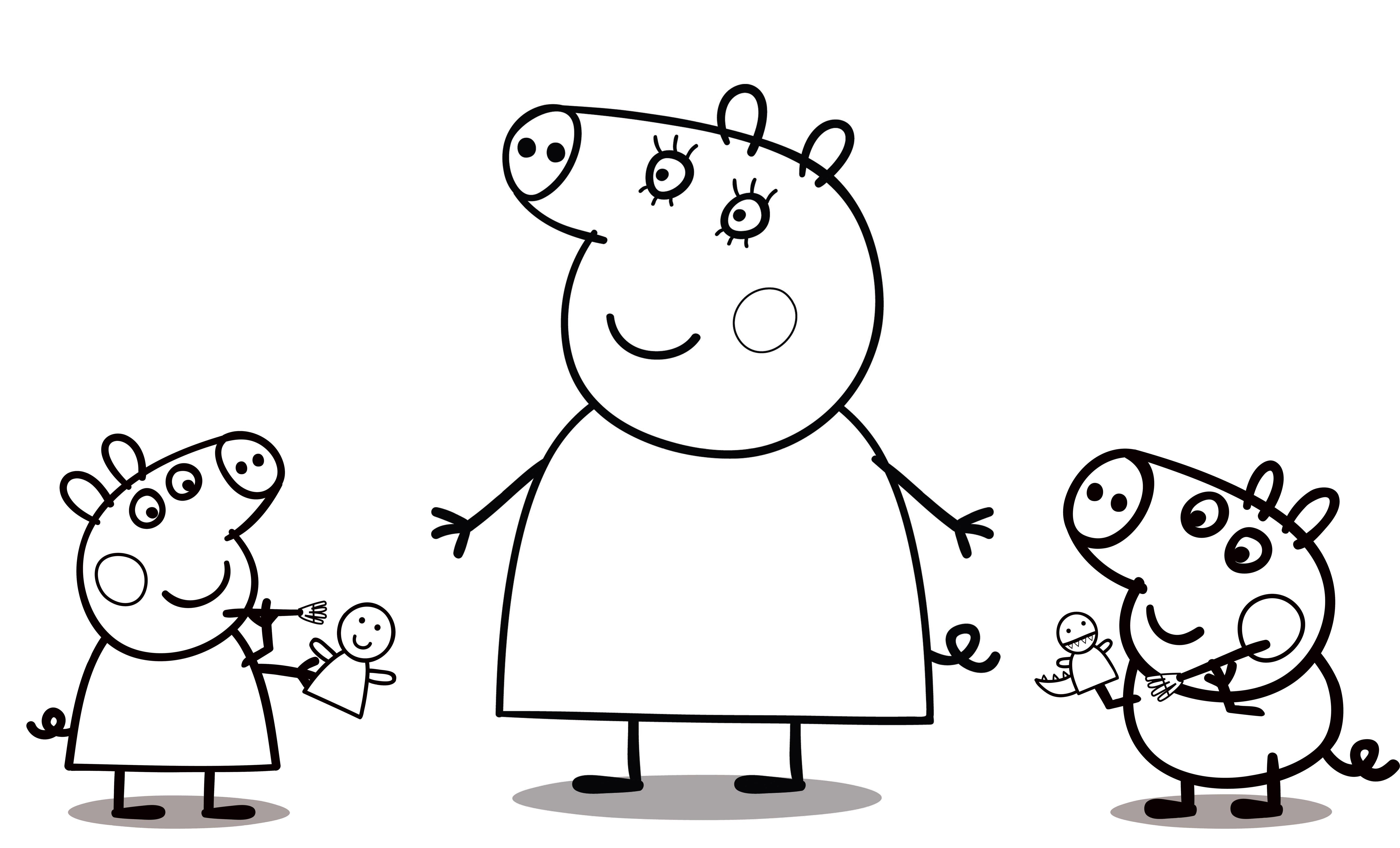 Раскраска пеппа для детей 3 лет