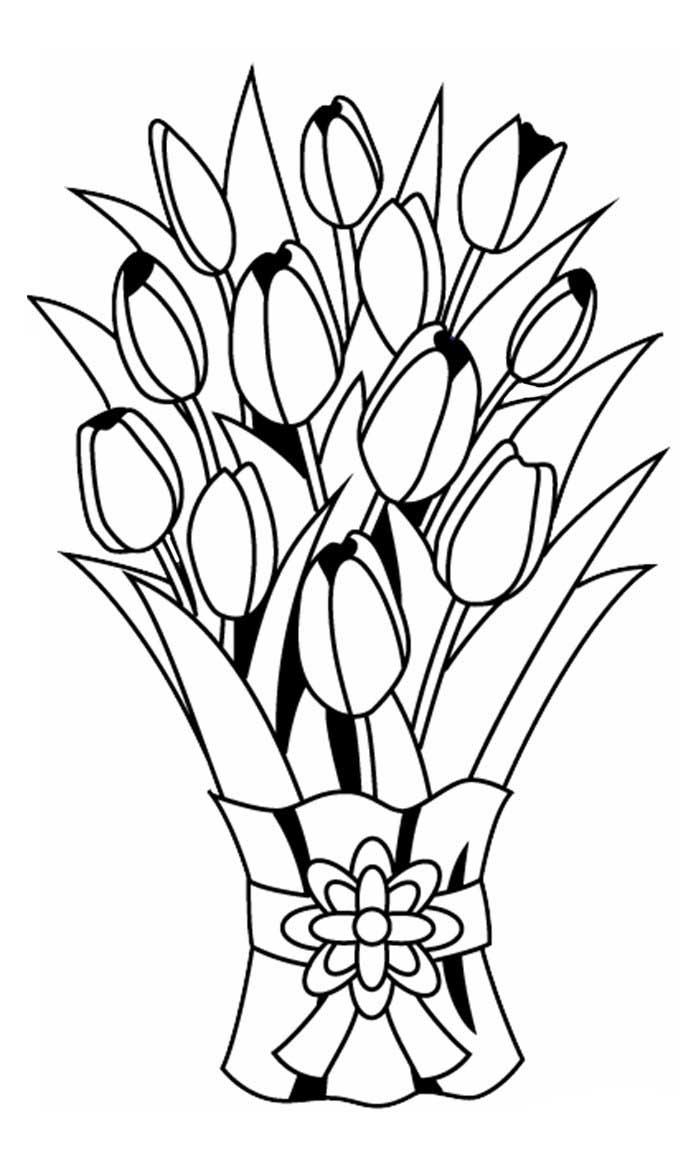 Раскраски для 8 марта цветы