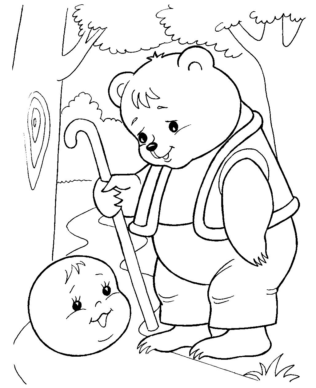 Раскраска медведь с колобком