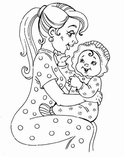 Раскраска девочка и мама