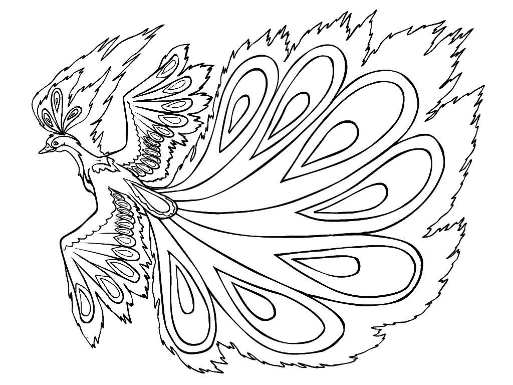 Жар птица картинка для детей раскраска