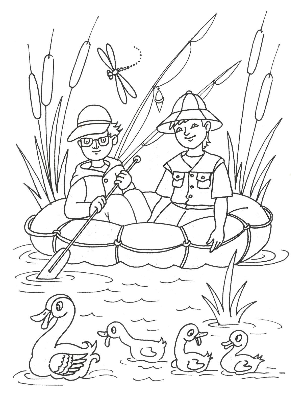 раскраска девчуга на лодке