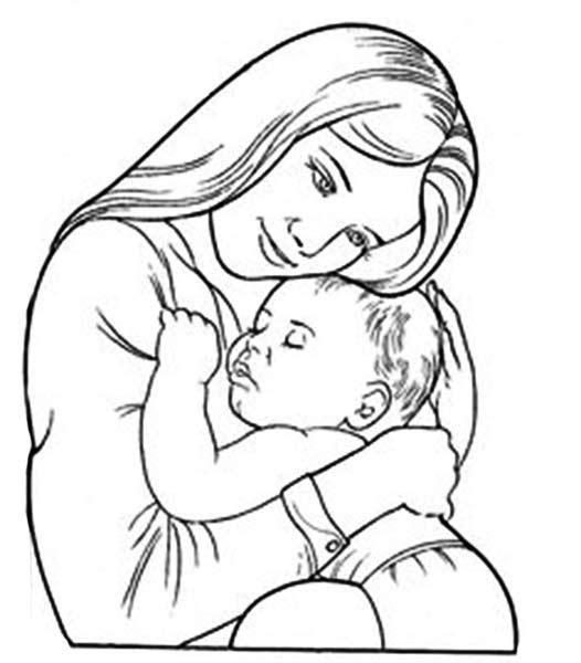 Мама с ребёнком раскраска