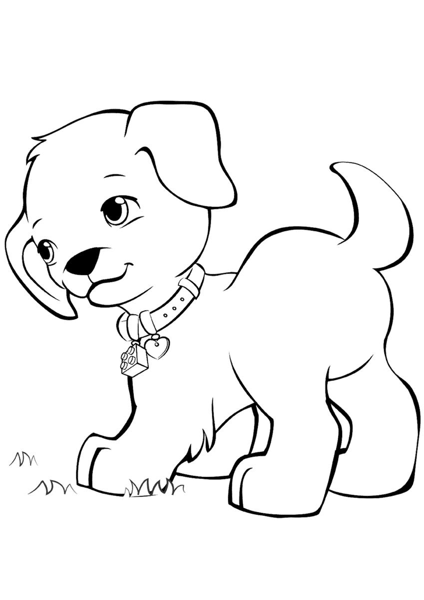 Раскраска щенок для маленьких