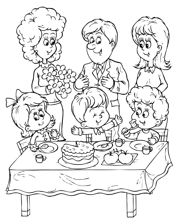 Картинки раскраски с днем рождения для детей в детском саду, рукоделия открытка открытка