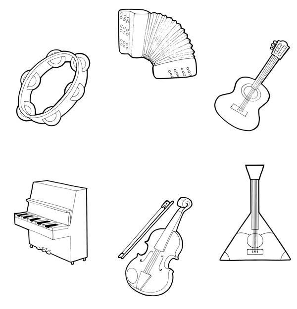 Музыкальные инструменты картинки для раскрашивания