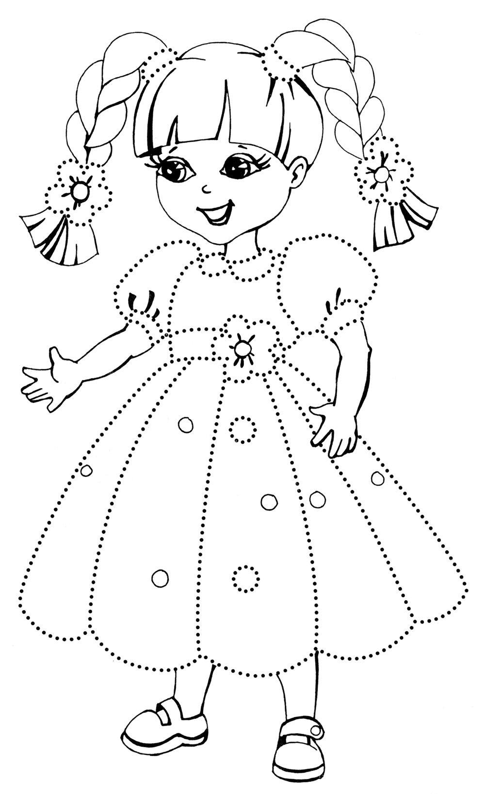Раскраска Девочка в платье - детские раскраски распечатать ...