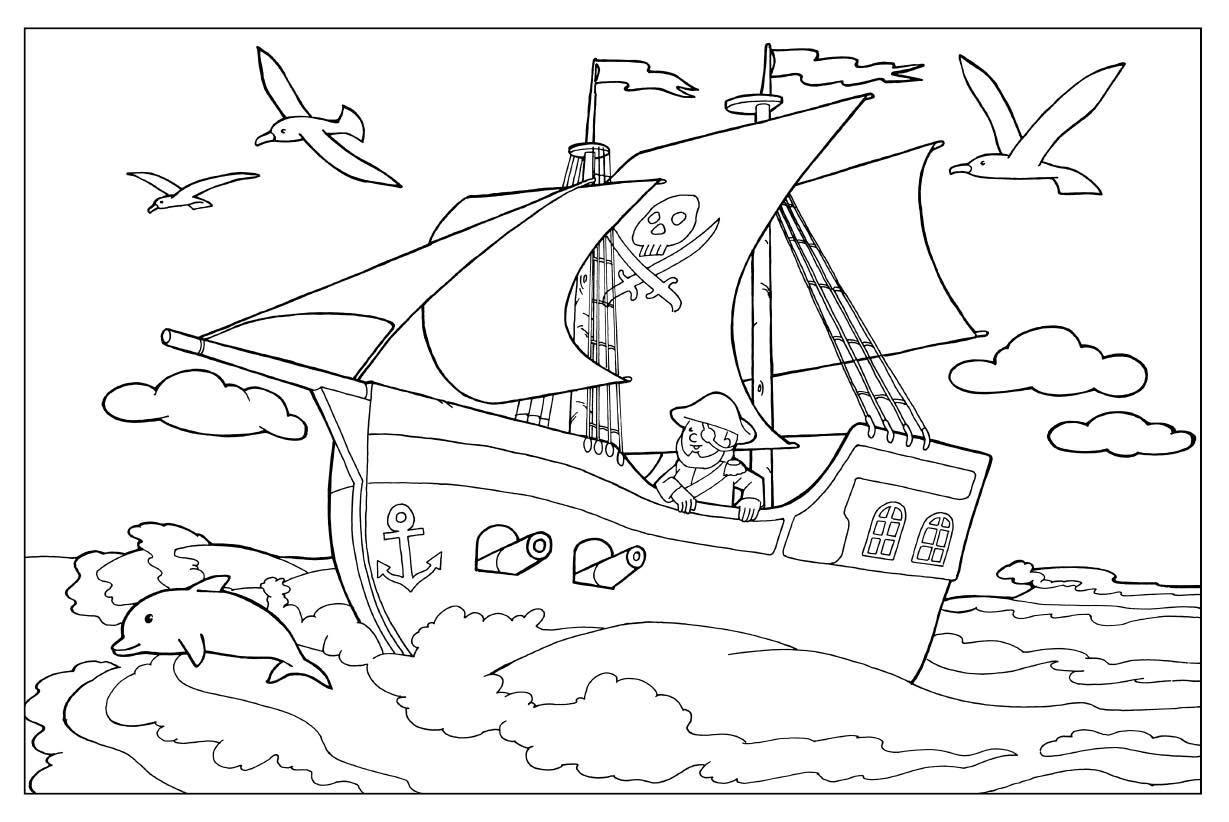 Картинка пиратского корабля раскраска