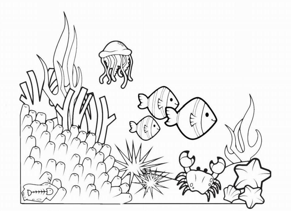 рисунок с рыбкой с водорослями камнями и пузырьками раскраска убранство дома также