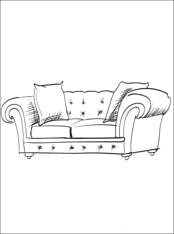 Картинки предметы домашнего быта раскраски диван