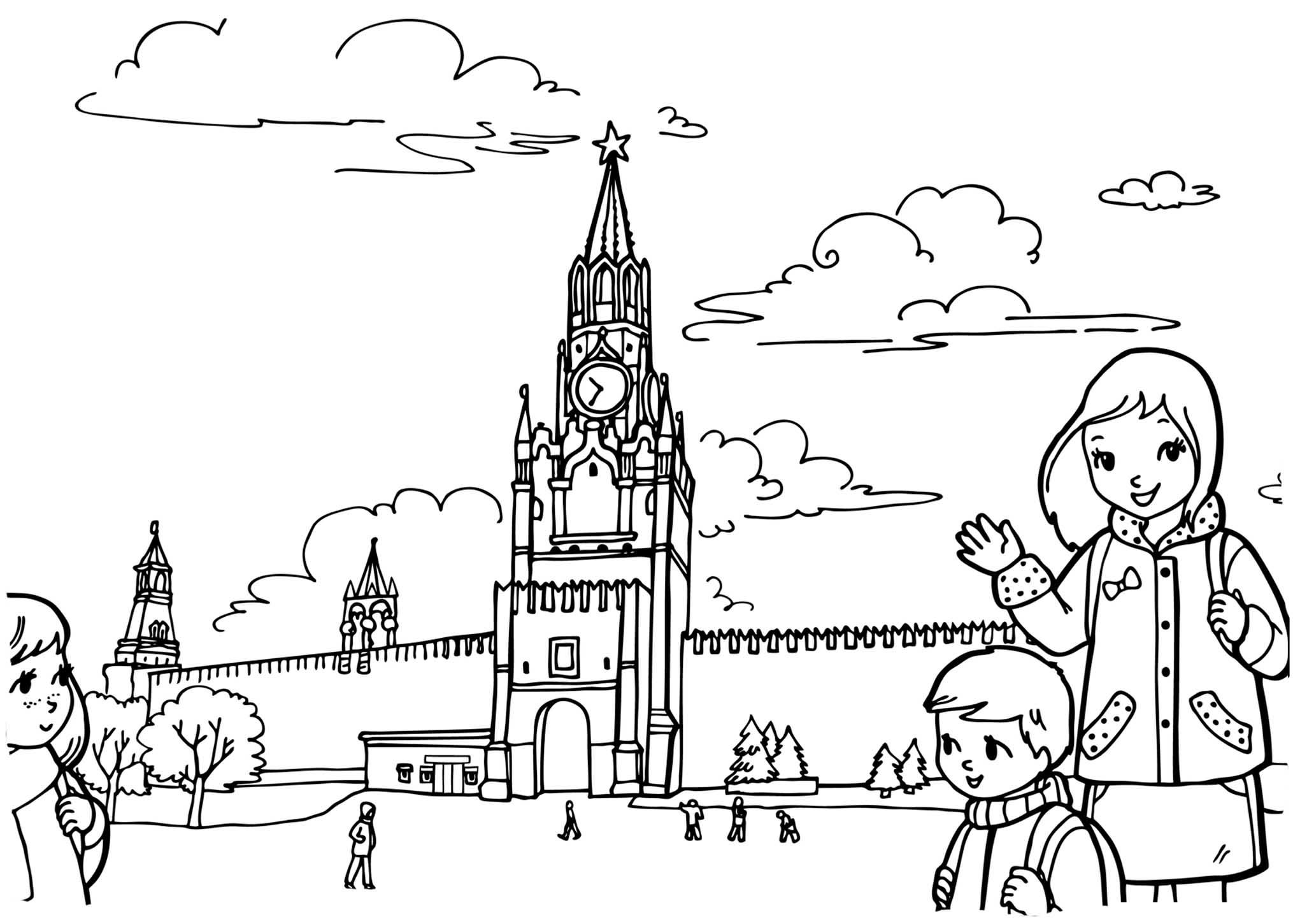 Москва картинки раскраски достопримечательности