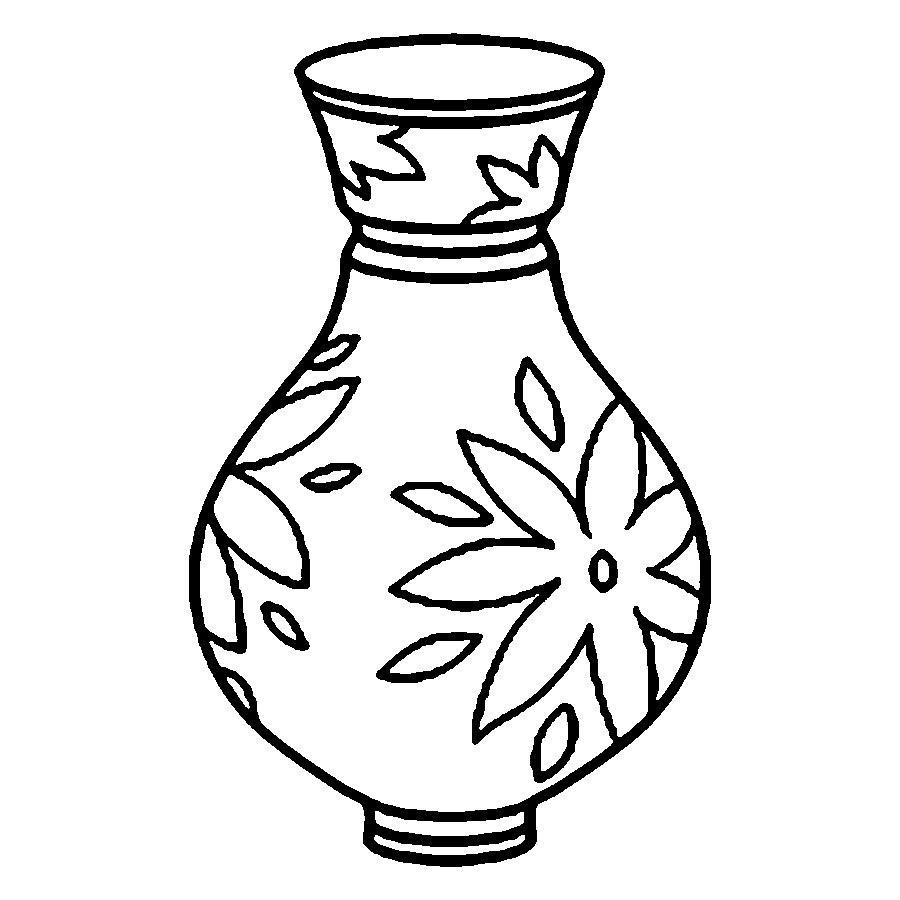 картинка раскраска ваза для детей