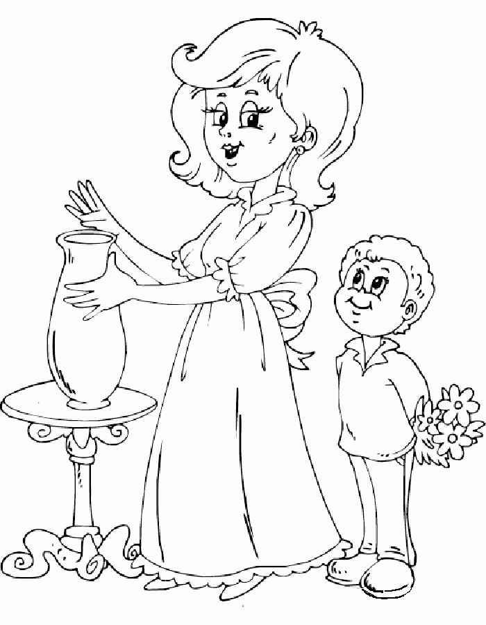 Картинка раскраска ко дню матери для детей