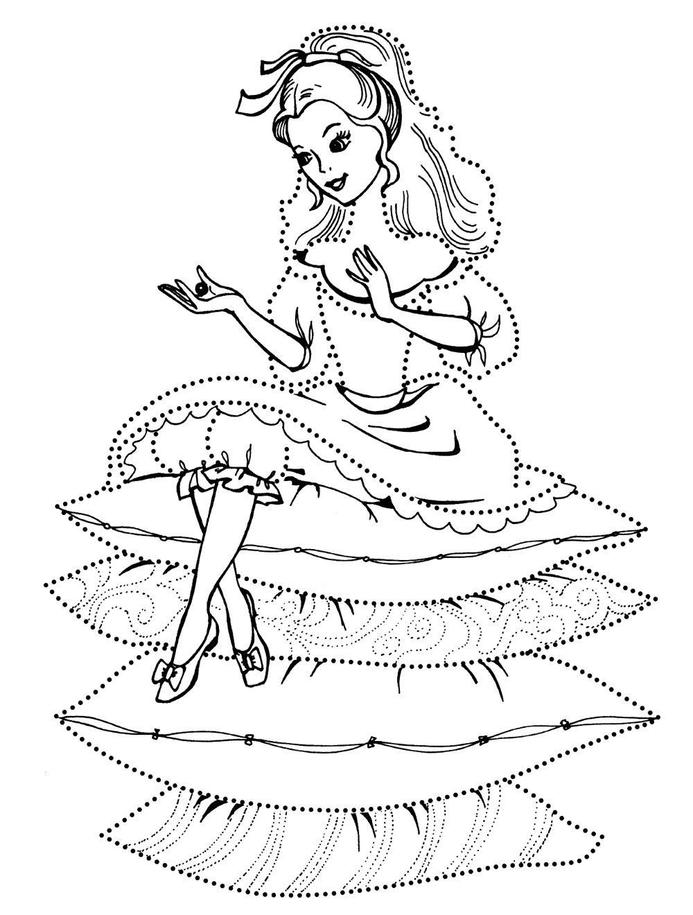 Принцесса на горошине для раскраски
