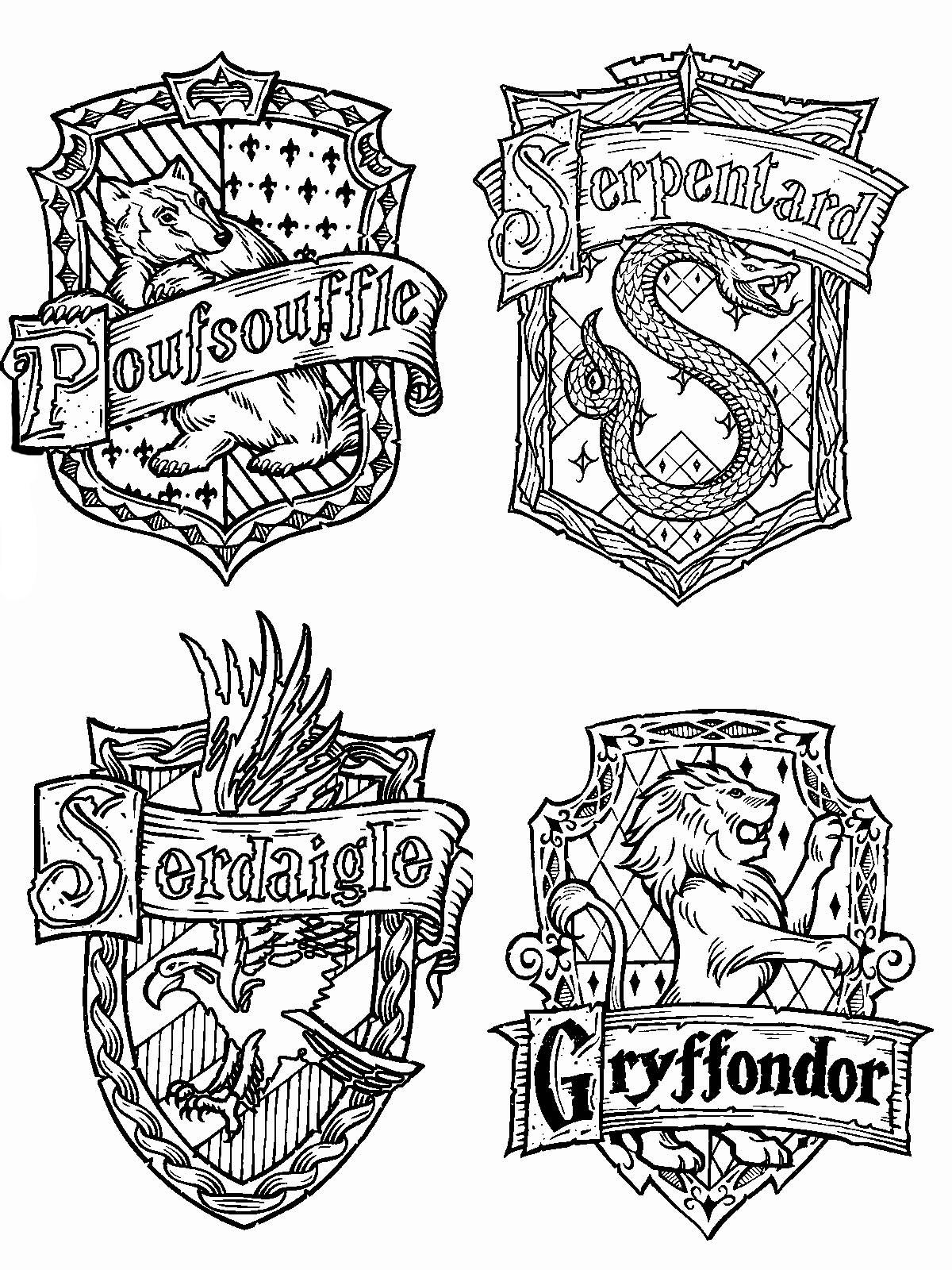 Раскраски эмблем хогвартс