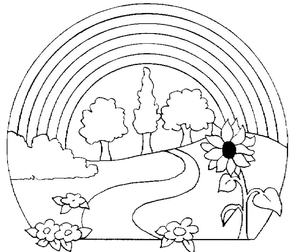 раскраски летний пейзаж детские раскраски распечатать