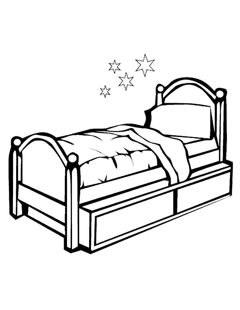 Кровать картинки раскраски для детей