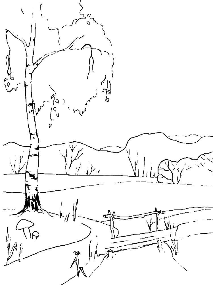 раскраски весенний пейзаж детские раскраски распечать