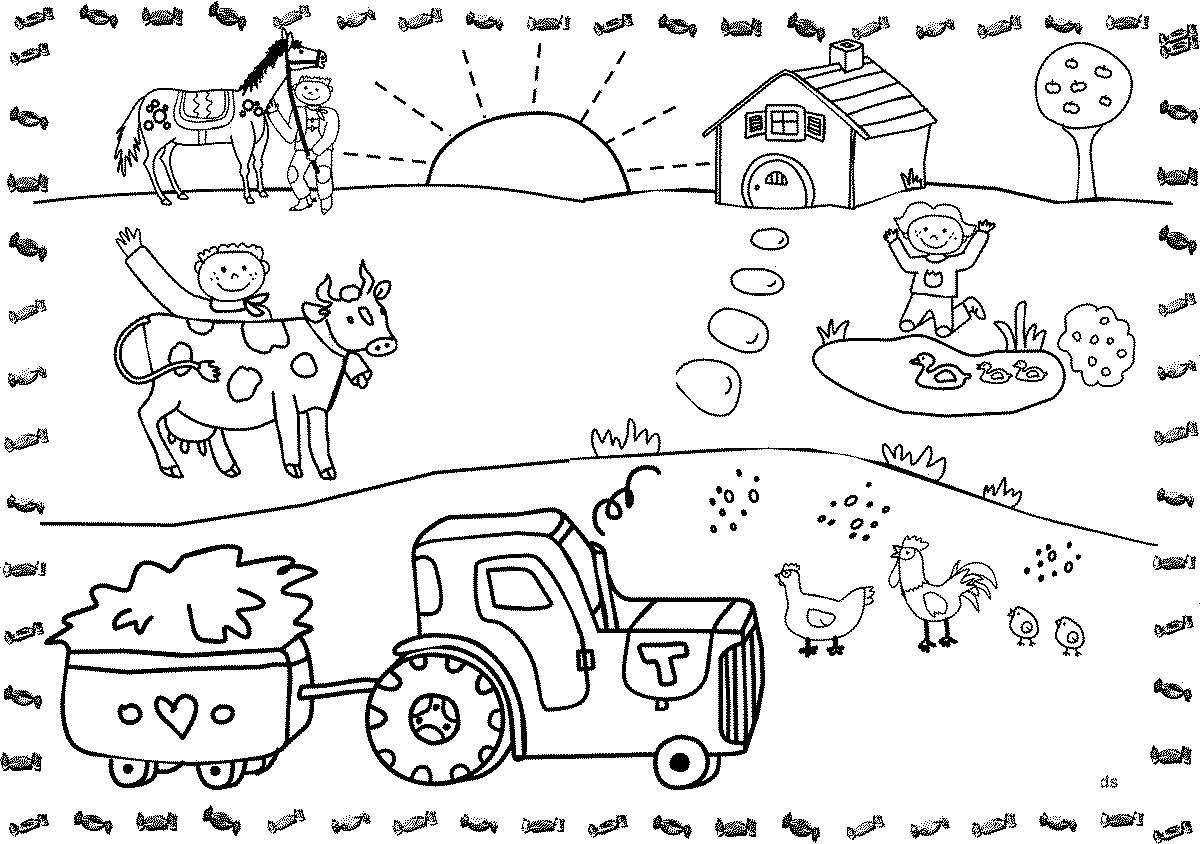 раскраска деревня детские раскраски распечатать бесплатно