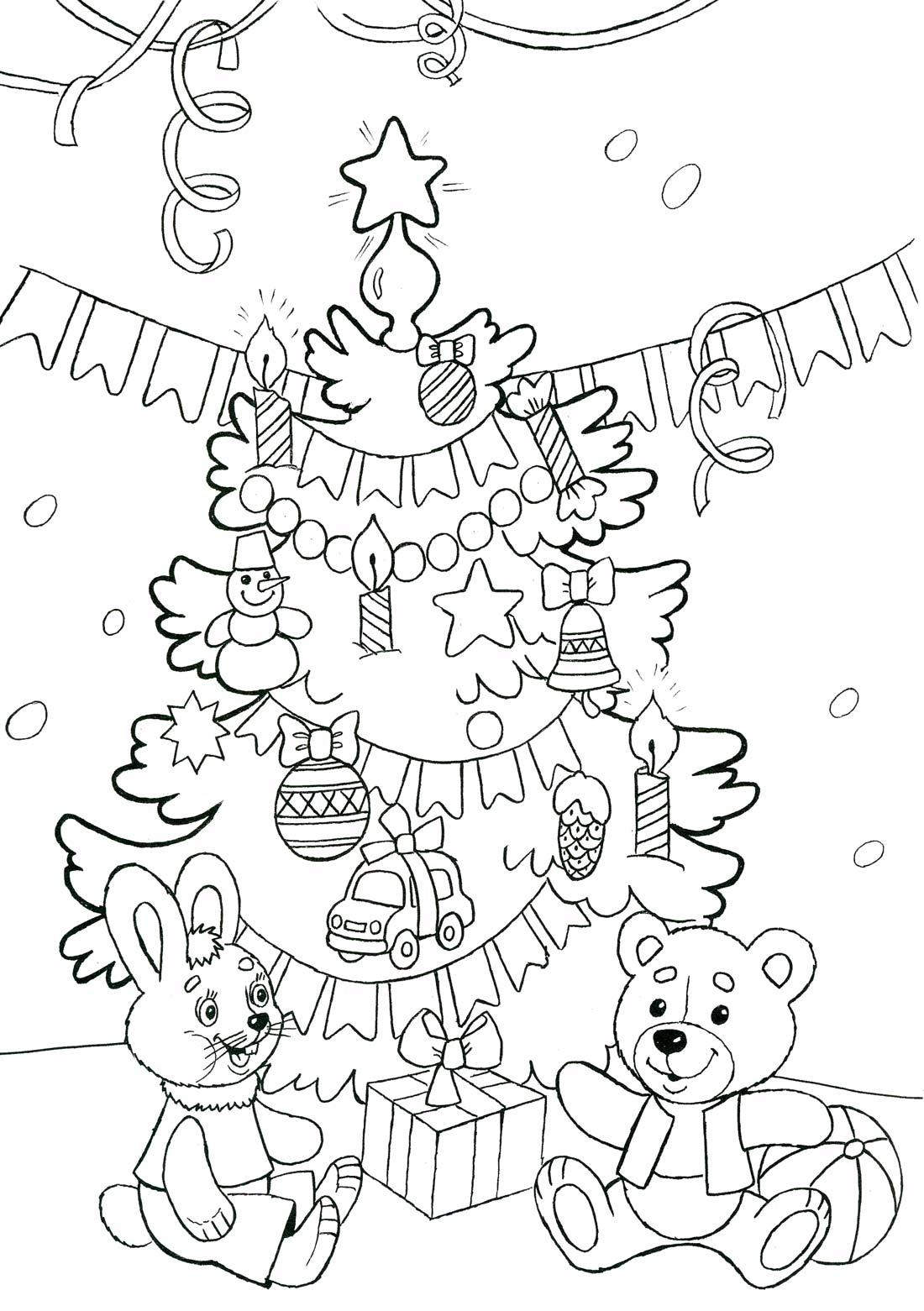 Раскраски на Новый Год - детские раскраски распечатать ...