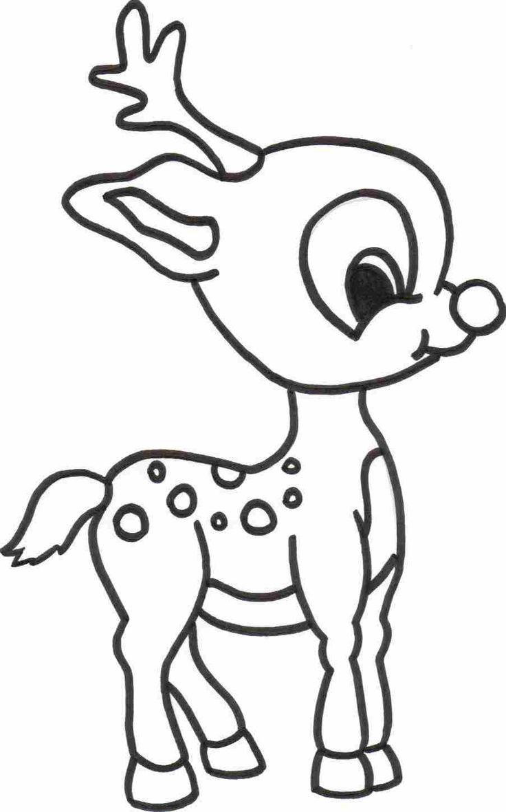 Рисунок олененка раскраска