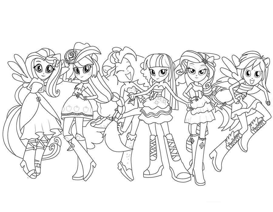 Девочки из эквестрии герлз раскраски