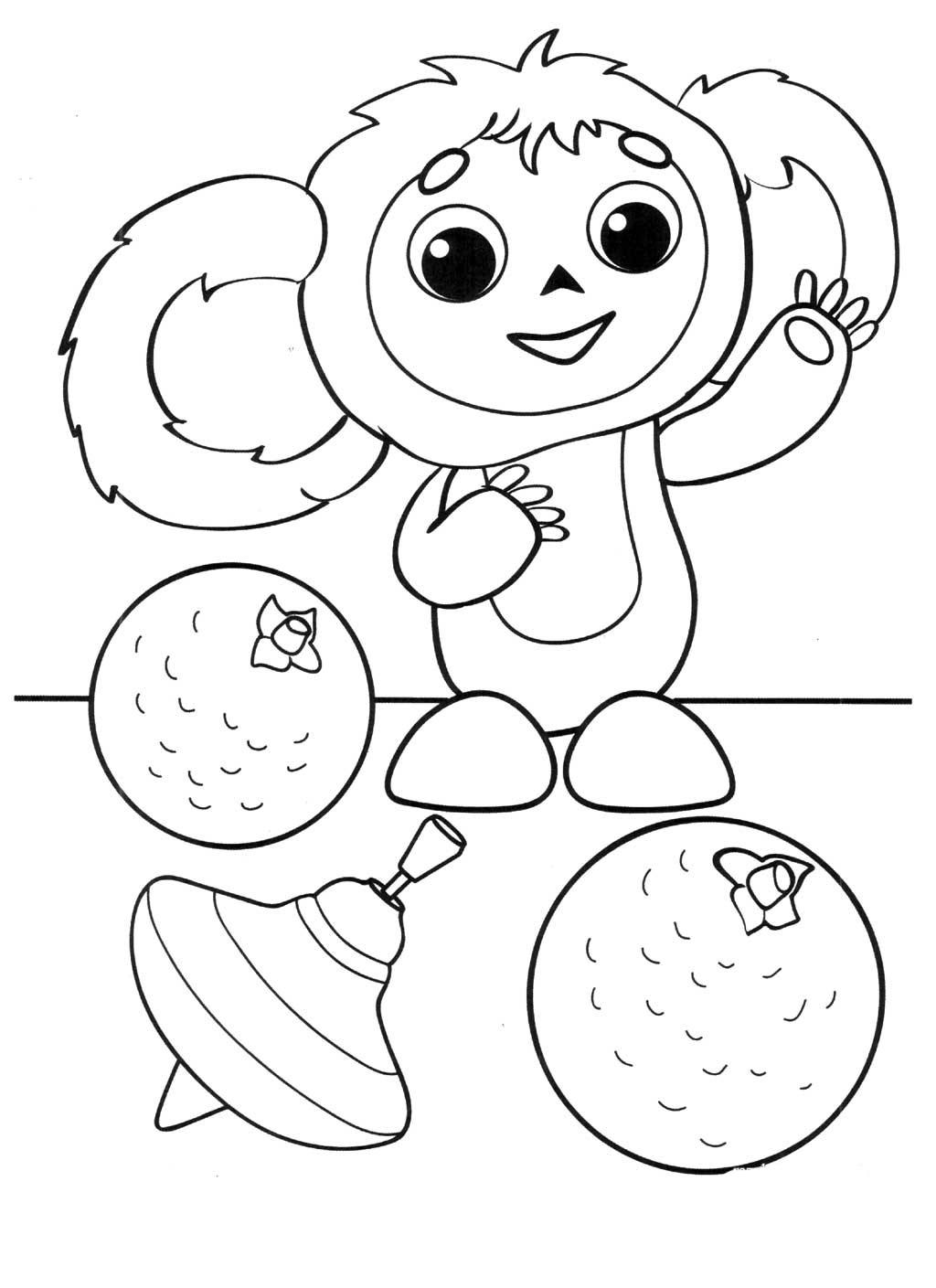 Раскраска Чебурашка - детские раскраски распечатать бесплатно