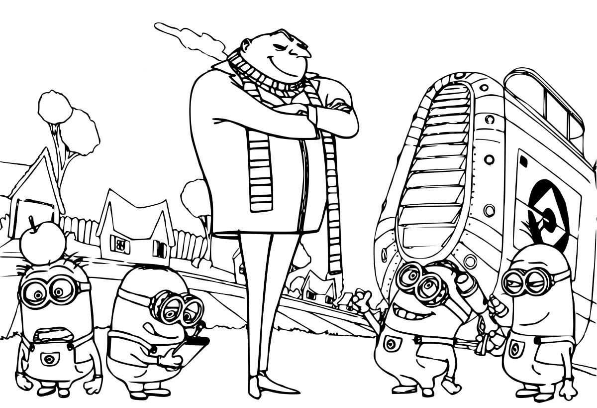 Раскраска миньоны для детей