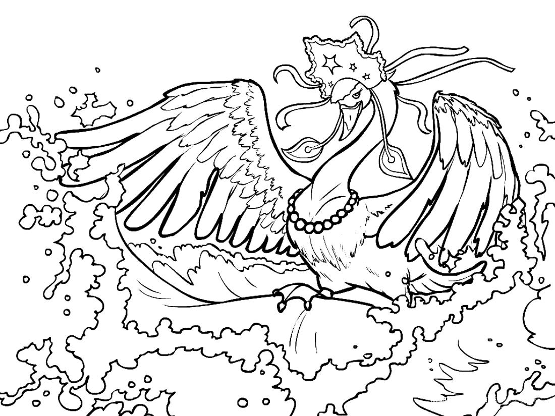 Распечатать раскраски лебедь