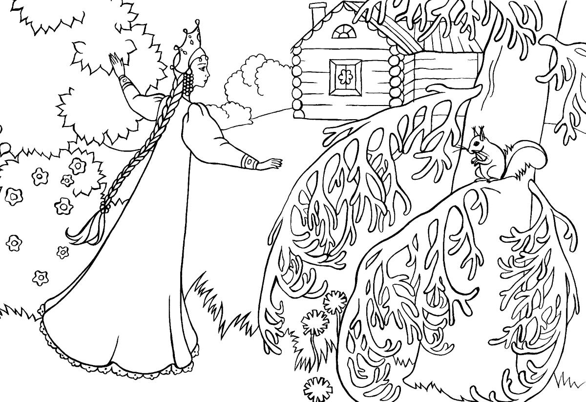 раскраски сказка о мертвой царевне и семи богатырях