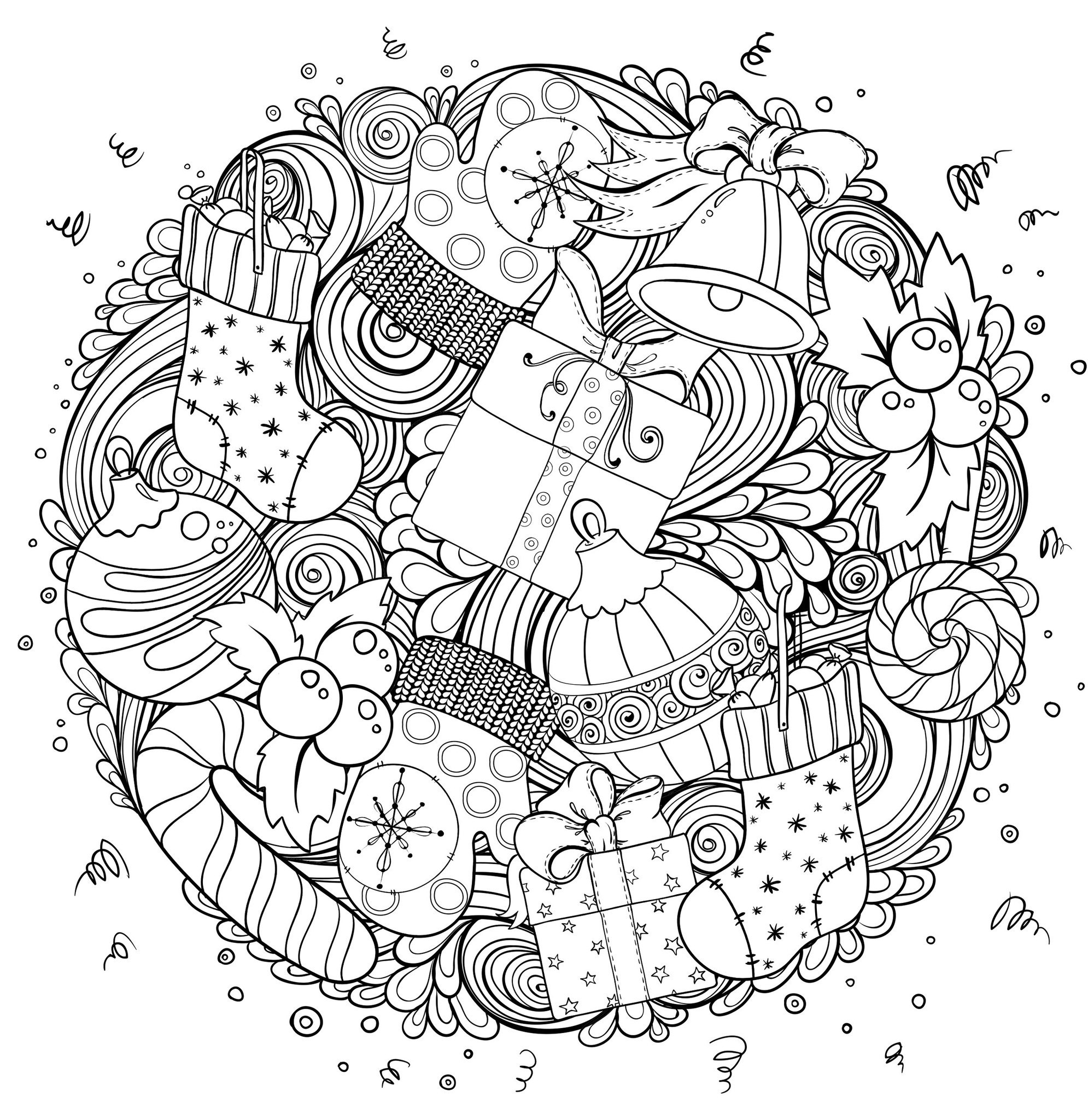 Mindfulness Coloring Christmas Paper Chains Coloring Pages