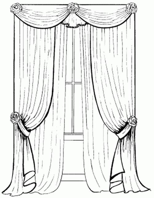 Картинка как нарисовать шторы