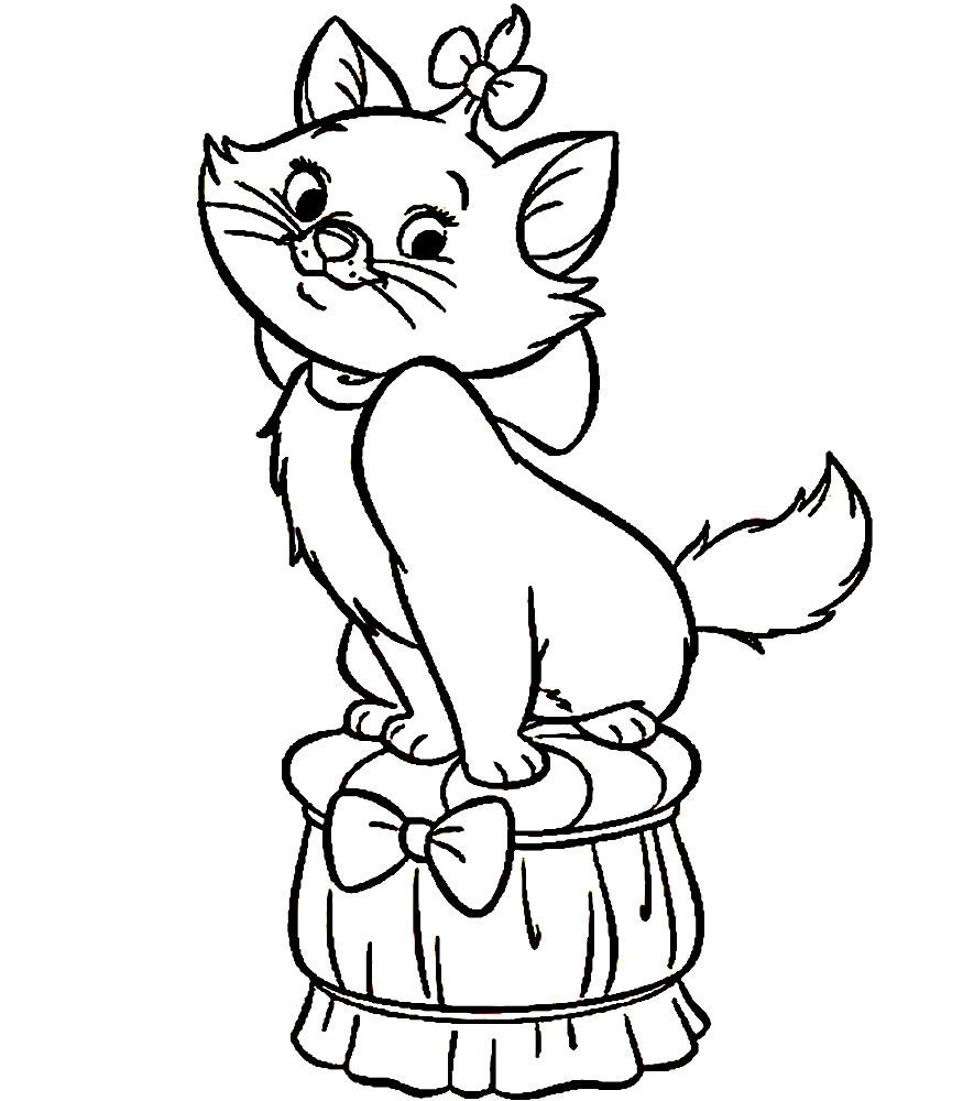 кошка с котятами рисунок раскраска