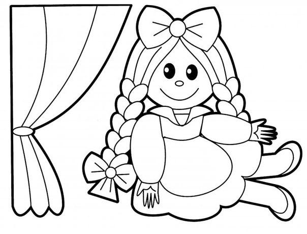 кукла картинка раскраска для детей