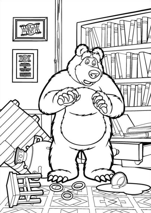 Раскраска маша и медведь бесплатно скачать