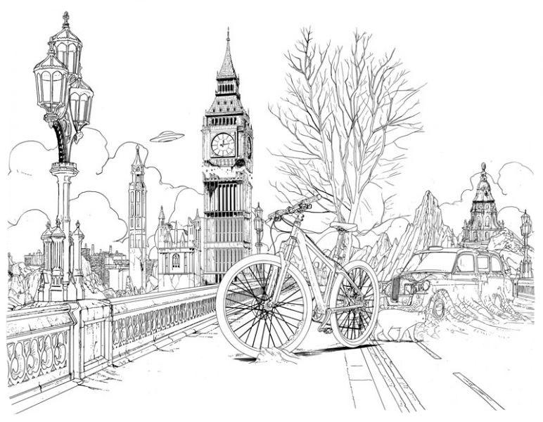 лондон раскраска для малышей перламутровые оттенки