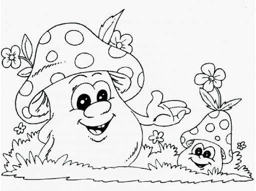 грибы картинка для детей раскраска