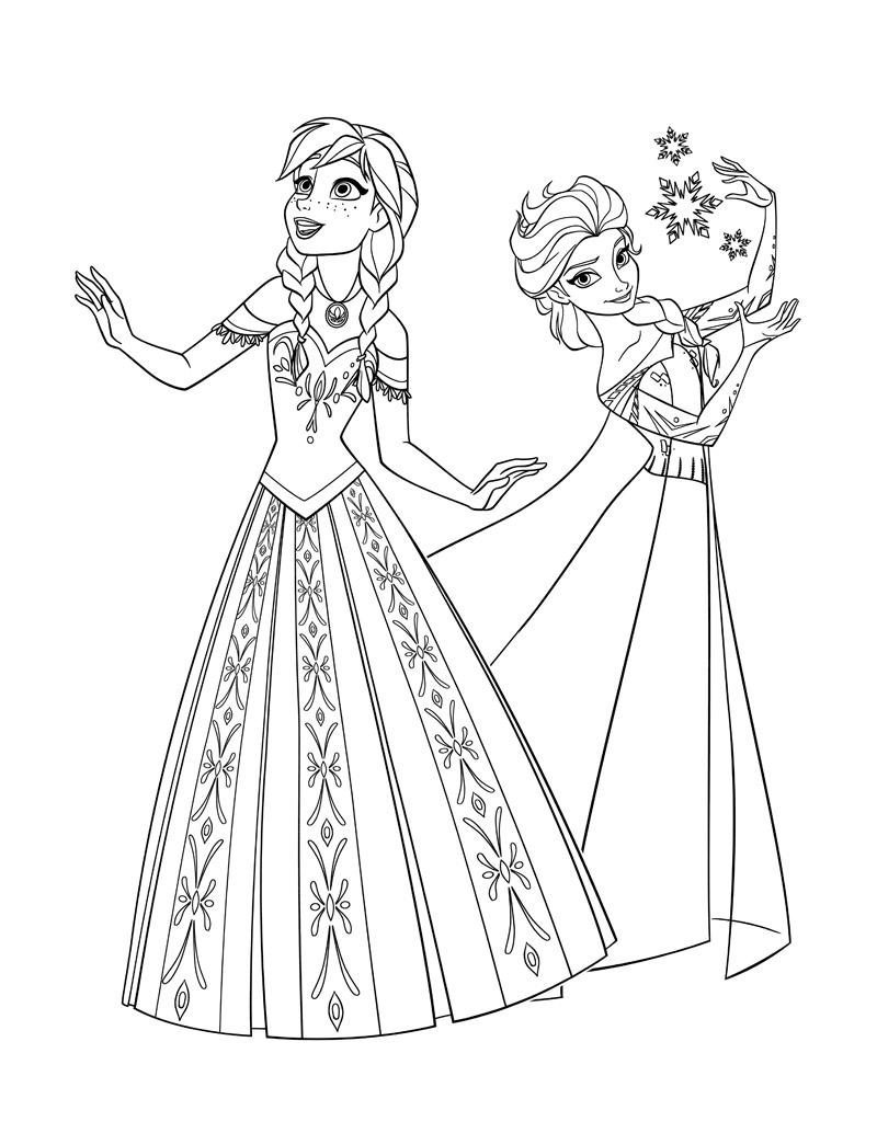 Раскраски Эльза и Анна - детские раскраски распечатать ...