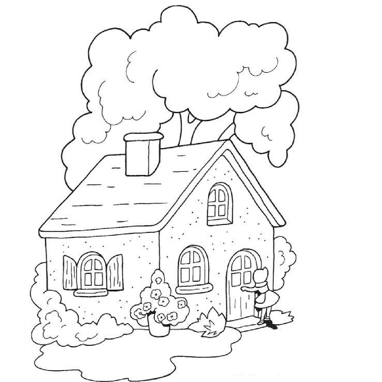 Картинка для раскраски домик в деревне