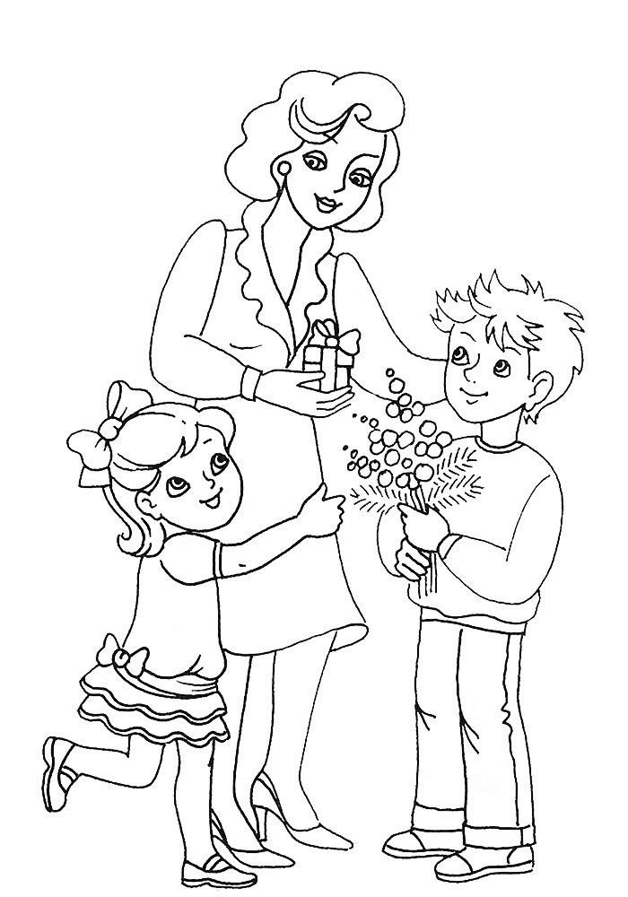 Черно белые картинки для мама