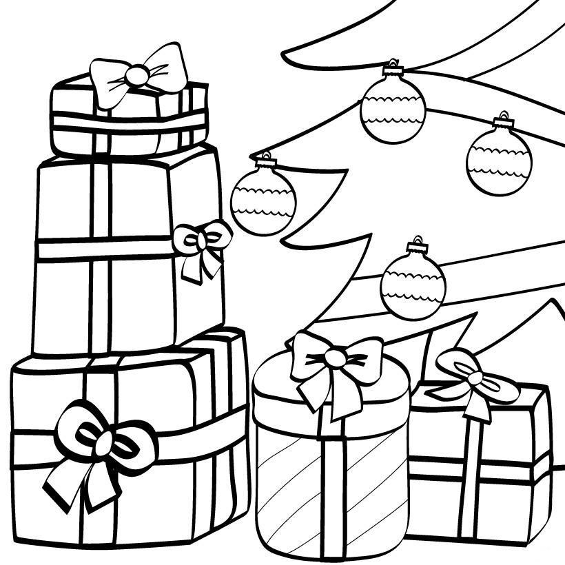 Раскраска подарка распечатать