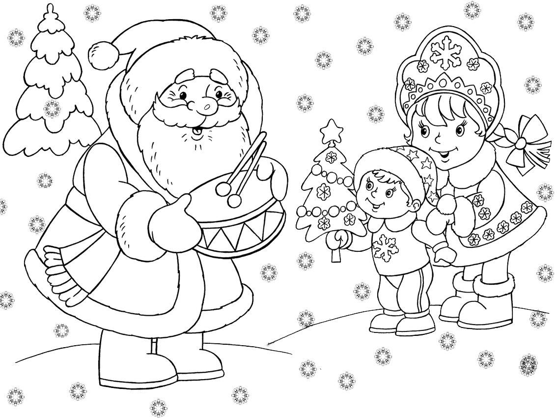 Раскраска с новым годом распечатать, маленькие детки картинки