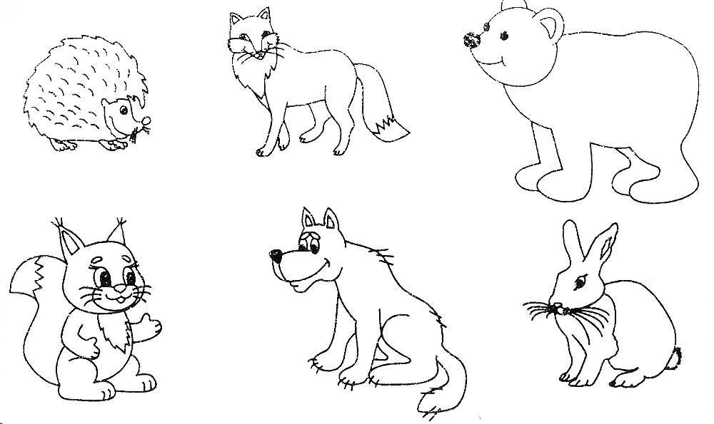 Лесные животные раскраска для малышей