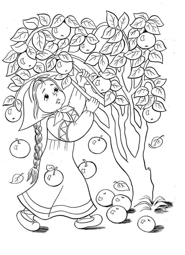 Раскраска яблонька из сказки