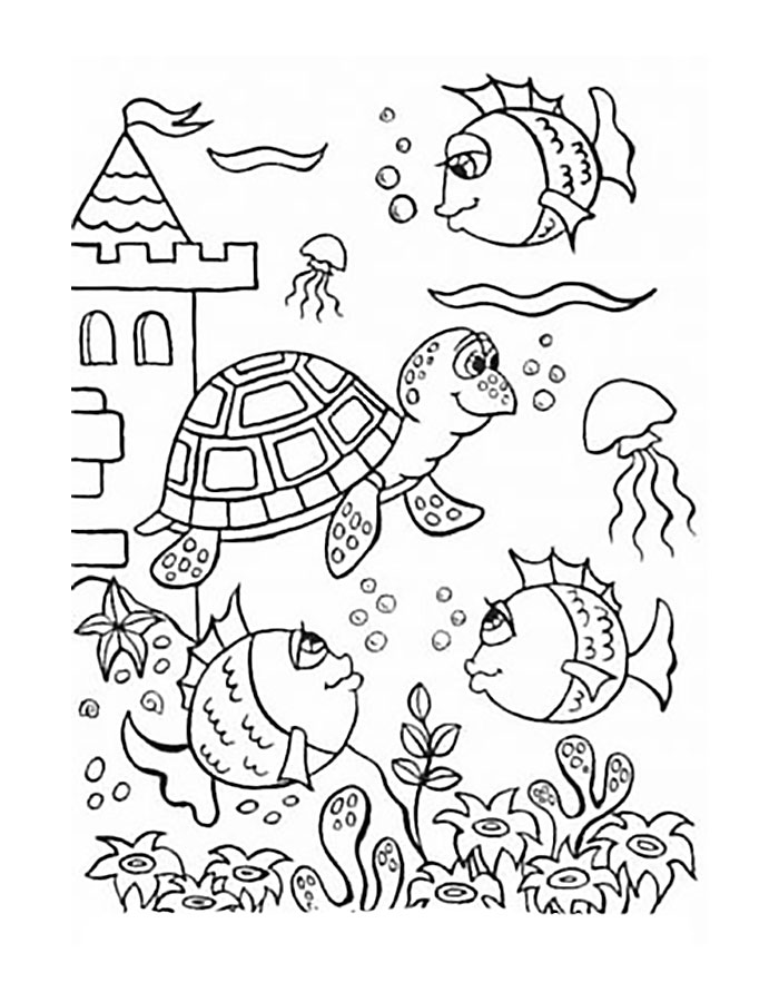 Картинки на морскую тему для детей раскраска