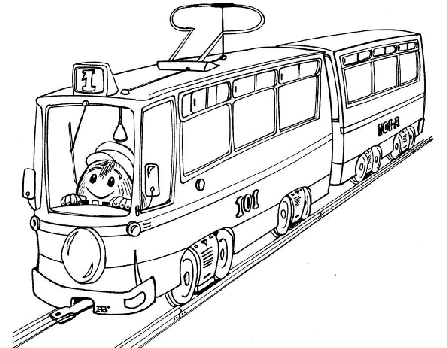 контурная картинка трамвая дань